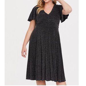 Torrid black shimmer skater midi dress 1 sparkle